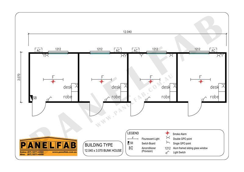 4 Bedroom Bunkhouse Diagram