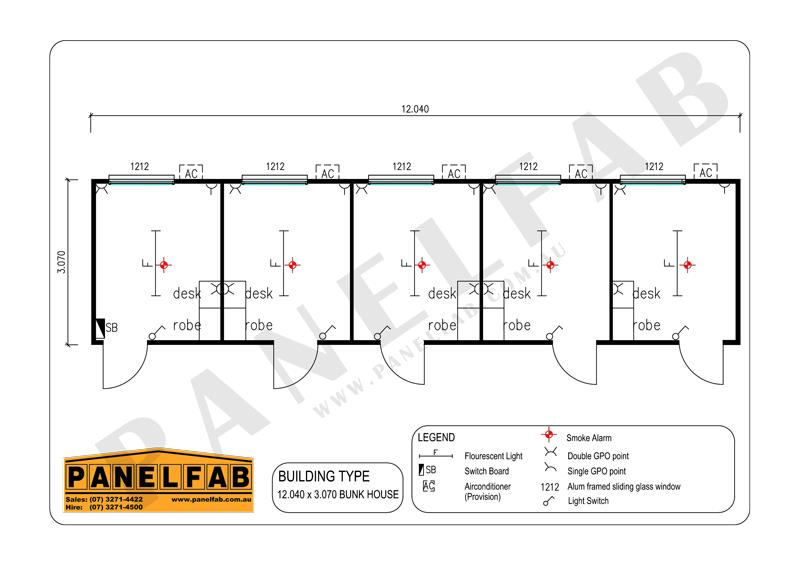 5 Bedroom Bunkhouse Diagram