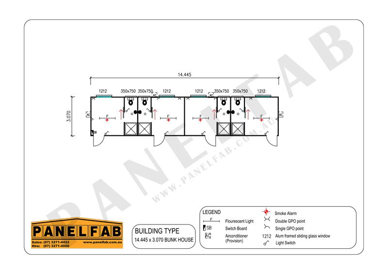 4 Bedroom Bunkhouse with Ensuite Diagram